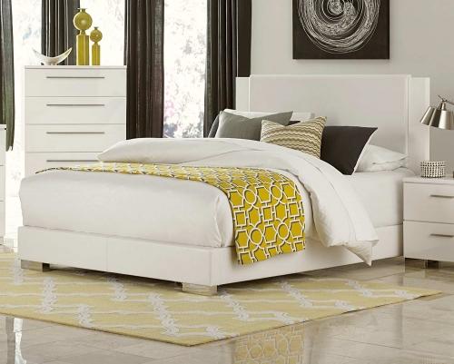 Linnea Upholstered Bed - High-Gloss White