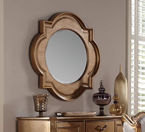 Homelegance Chambord Server Wall Mirror - Antique Gold