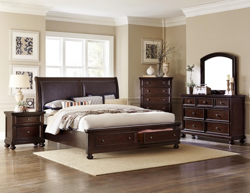 Faust Upholstered Sleigh Platform Storage Bedroom Set - Dark Cherry