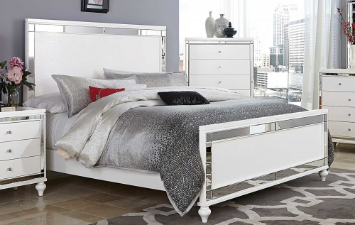 Alonza Panel Bed - White