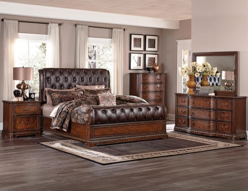 Brompton Lane Upholstered Bedroom Set - Cherry