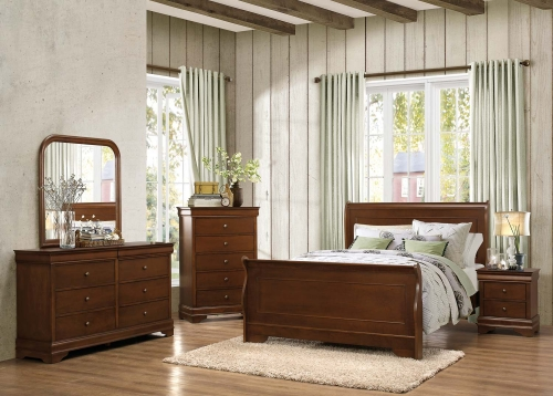 Abbeville Sleigh Bedroom Set - Brown Cherry