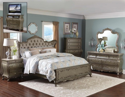 Florentina Bedroom Set - Silver/Gold