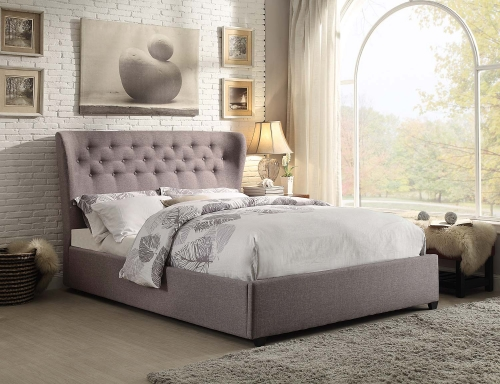 Wade Upholstered Wing Bed - Grey