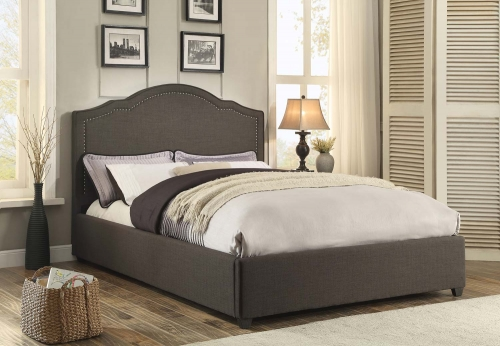 Zaira Upholstered Bed - Dark Grey