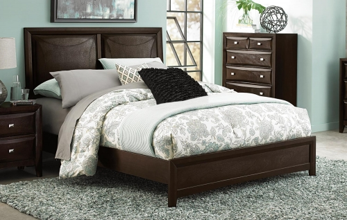 Summerlin Upholstered Panel Bed - Espresso