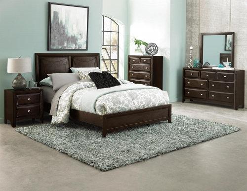 Summerlin Upholstered Panel Bedroom Set - Espresso