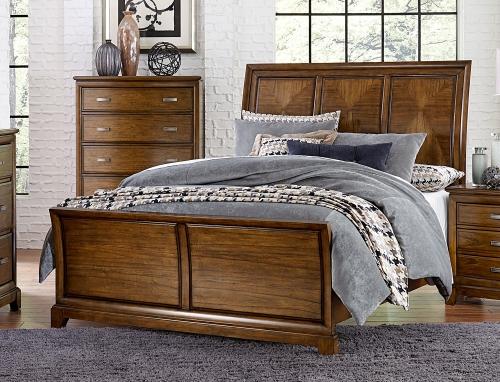 Terron Sleigh Bed - Medium Oak