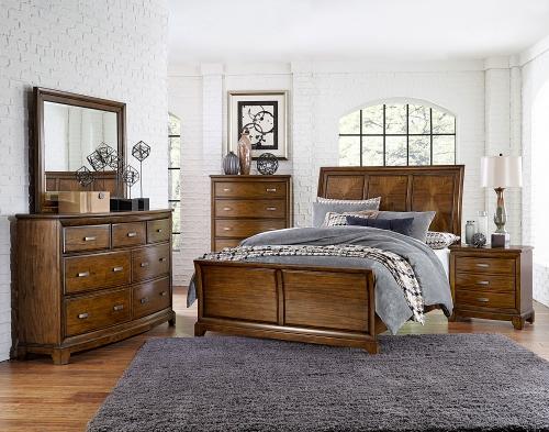 Terron Sleigh Bedroom Set - Medium Oak