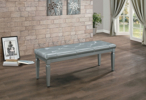 Homelegance Allura Bed Bench - Silver