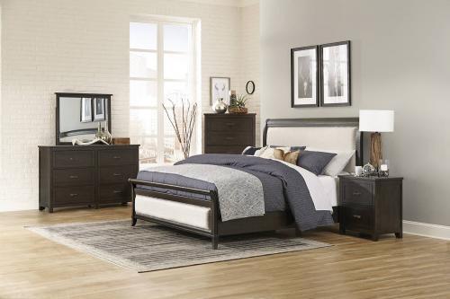 Hebron Upholstered Sleigh Bedroom Set - Dark Cherry