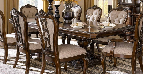 Homelegance Bonaventure Park Double Pedestal Dining Table - Gold-Highlighted Cherry
