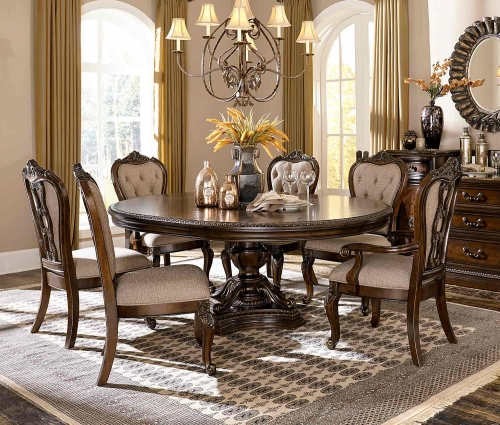 Bonaventure Park Round/Oval Dining Set - Gold-Highlighted Cherry
