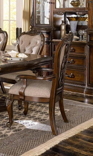Homelegance Bonaventure Park Arm Chair - Gold-Highlighted Cherry