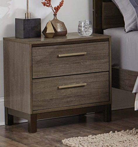 Vestavia Night Stand - Grey/Dark Brown