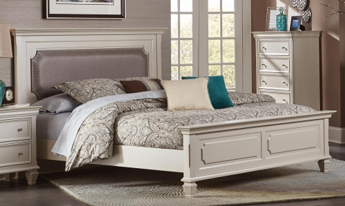 Odette Upholstered Panel Bed - Champagne