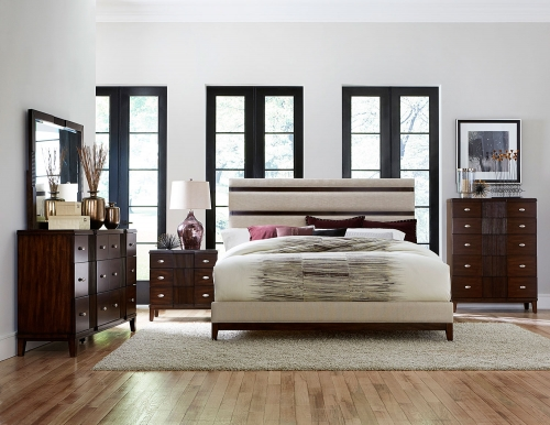 Pelmar Upholstered Bedroom Set - Dark Walnut
