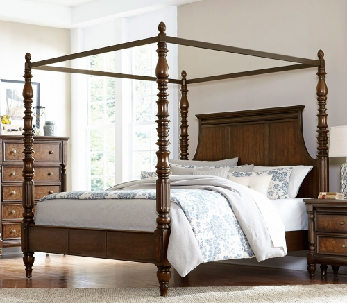 Verlyn Canopy Bed - Cherry with Burl Accents