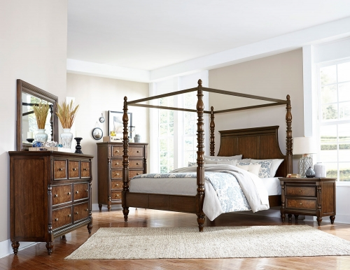 Verlyn Canopy Bedroom Set - Cherry with Burl Accents