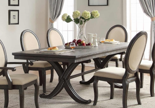Lindley Dining Table with Leaf - Walnut/Dusty Gray