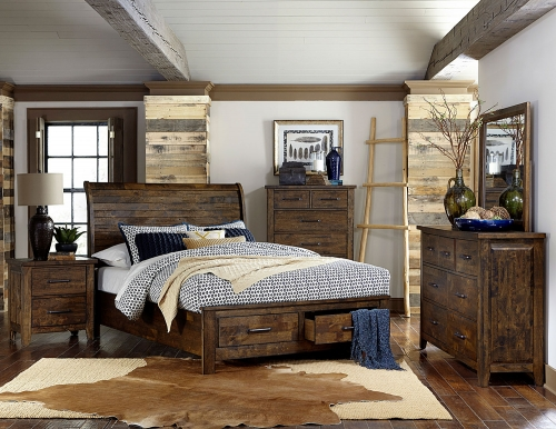 Jerrick Sleigh Platform Storage Bedroom Set - Rustic Burnished Wood