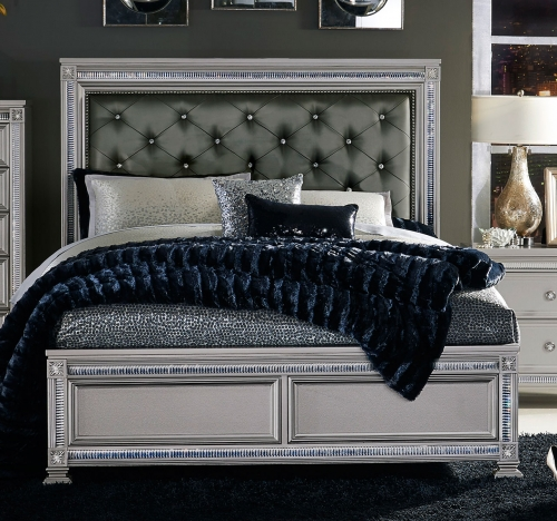 Bevelle Button Tufted Upholstered Bed - Silver