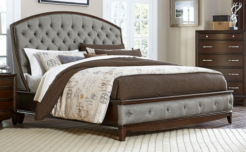 Yorklyn Button Tufted Upholstered Sleigh Bed - Cherry