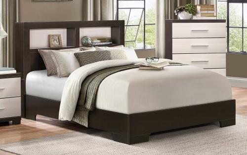 Pell Low Profile Storage Bookcase Bed - Two-tone Espresso/White