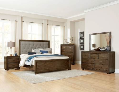 Leavitt Button Tufted Upholstered Bedroom Set - Brown Cherry