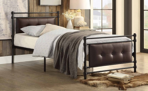 Jayla Button Tufted Upholstered Metal Platform Bed - Black-Brown