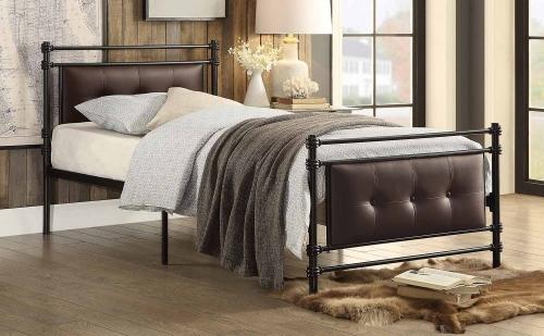Jayla Button Tufted Upholstered Metal Platform Bed - Black-Brown