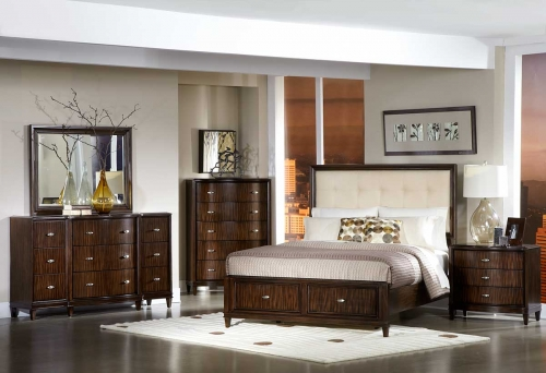 B Abramo Bedroom Set Cream Linen 1165