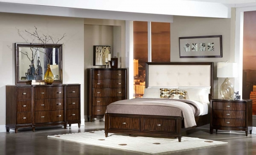 BW Abramo Bedroom Set Cream Bonded Leather 1165