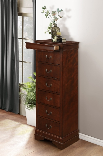 Mayville Lingerie Chest - Hidden Drawer - Burnished Brown Cherry