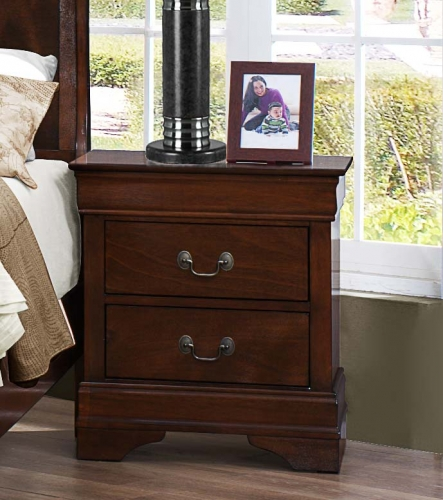 Homelegance Mayville Night Stand - Burnished Brown Cherry