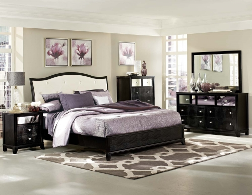 Jacqueline Upholstered Bedroom Collection - Faux Alligator/Black