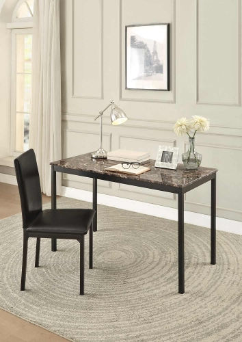 Tempe Writing Desk and Chair - Black Metal - Dark Brown Bi-Cast