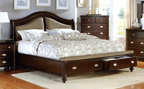 Homelegance Marston Upholstered Platform Storage Bed - Dark Cherry