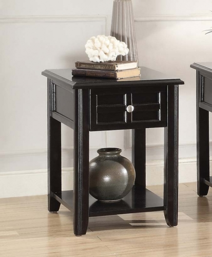 Carrier Chairside Table with Functional Drawer - Dark Espresso