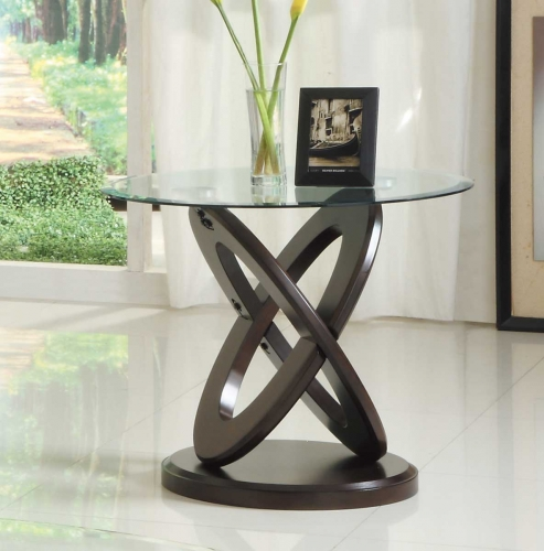 Firth II End Table - Deep Brown Cherry