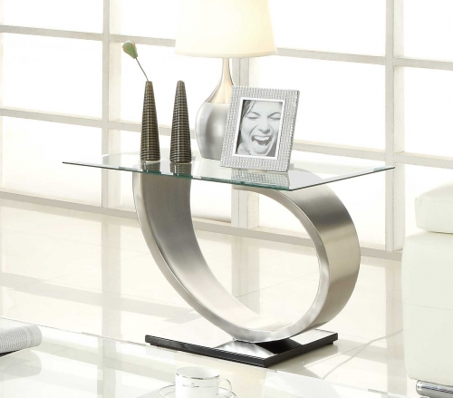 Silvera End Table - Brushed Chrome