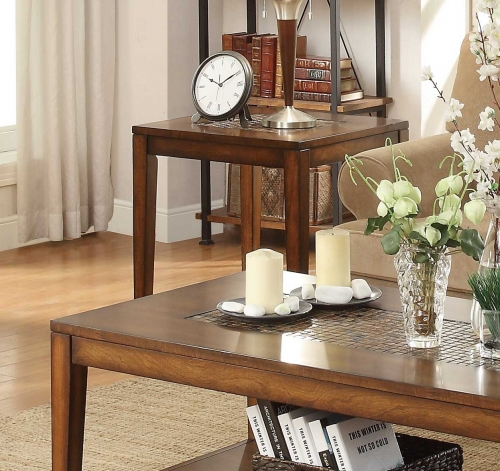 Antoni End Table with Shelf - Warm Brown Cherry