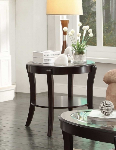 Pierre End Table with Glass Insert
