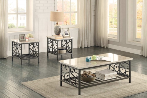 Fairhope 3-Piece Occasional Tables with Faux Marble Top