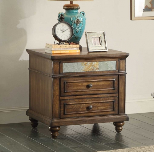 Chehalis End Table with Functional Drawer - Brown Cherry with Oak Veneers