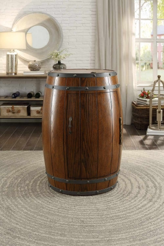 Cabernet Wine Barrel Refrigerator Cabinet - Dark Oak
