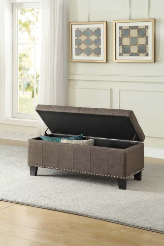 Fedora Lift Top Storage Bench - Brown