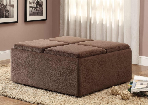 Kaitlyn Cocktail/Coffee Ottoman with Casters for Easy Mobility - Chocolate Textured Plush Microfiber