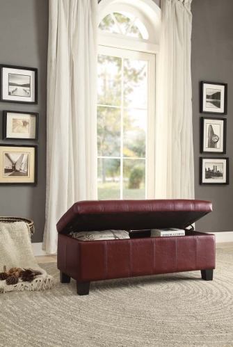 Clair Lift Top Storage Bench - Red Bi-Cast Vinyl