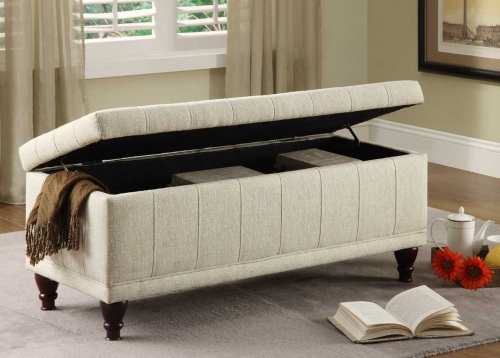 Afton Lift Top Storage Bench Ottoman - Cream Fabric